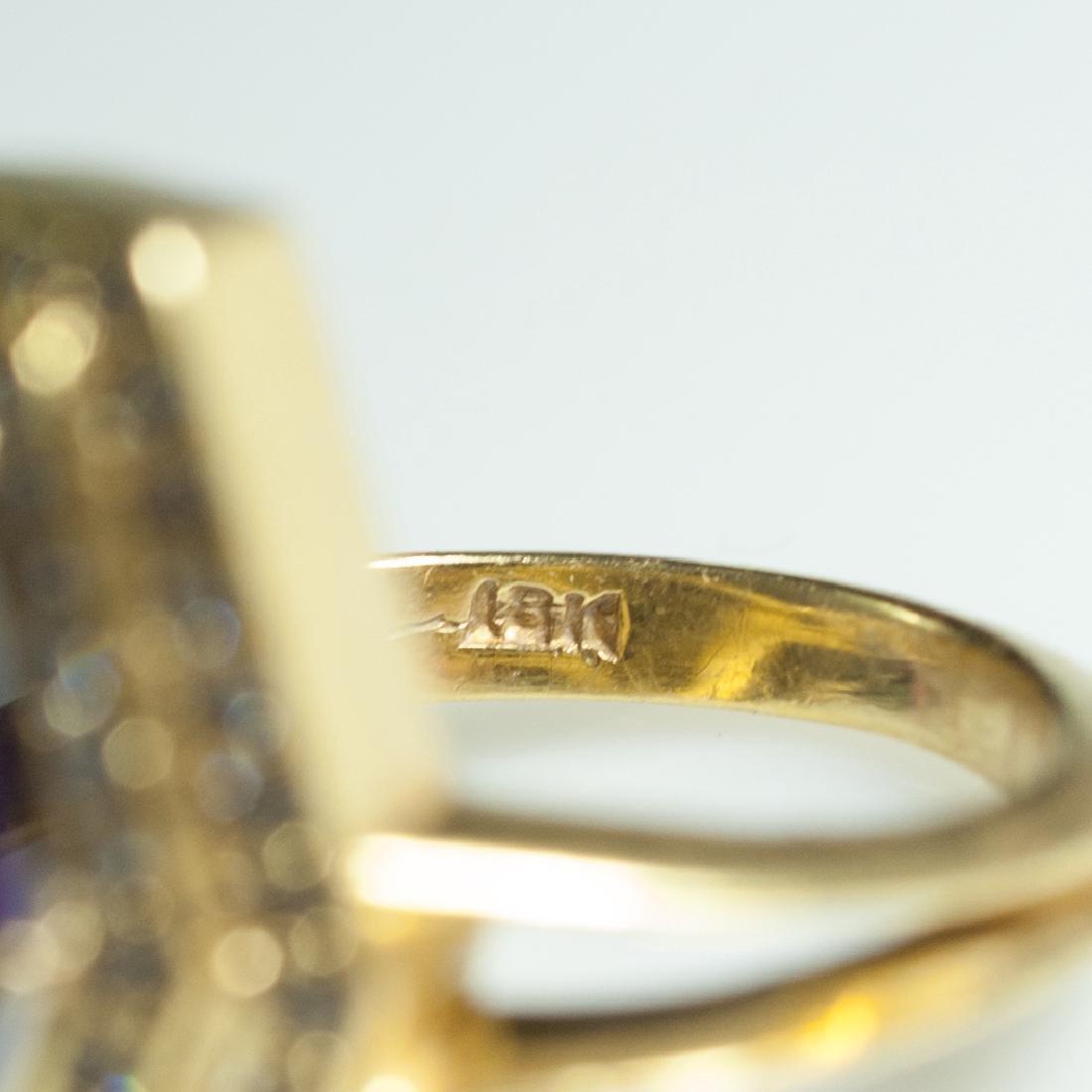 18kt Gold & Amethyst & Diamond Ring - 3