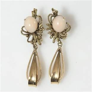 14kt Gold Angel Skin Coral Earrings