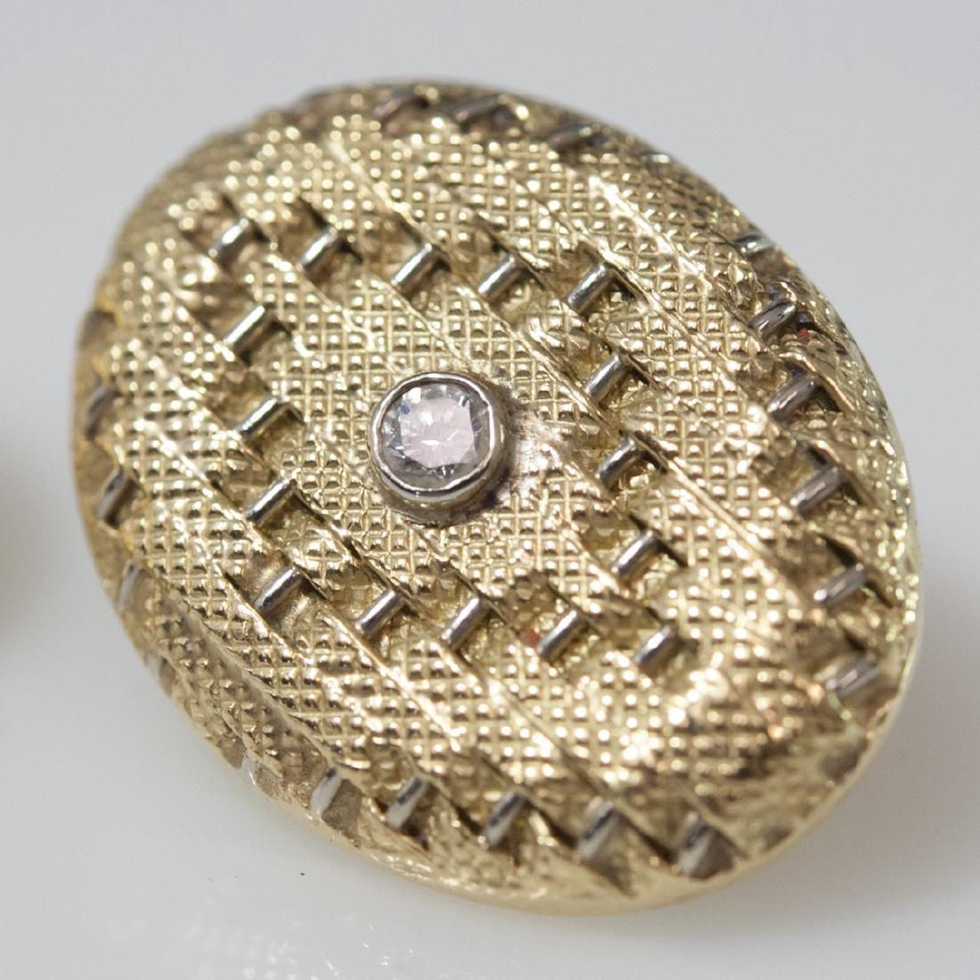 18kt Gold & Diamond Art Deco Style Earrings - 4
