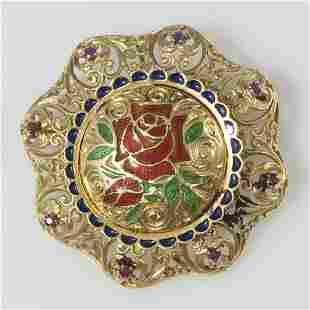 Italian 18kt Enameled Gold Ruby Brooch