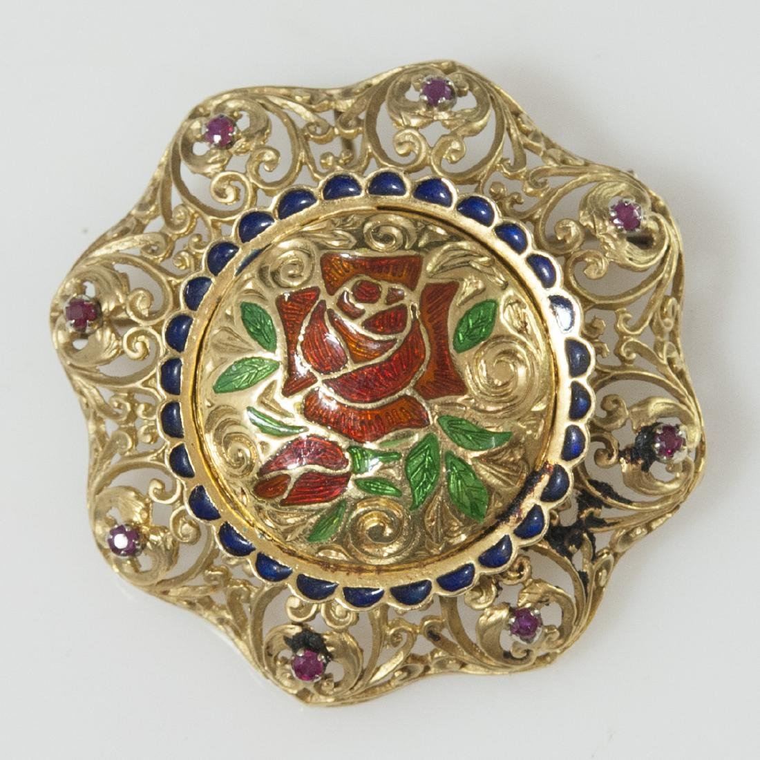 Italian 18kt Enameled Gold & Ruby Brooch