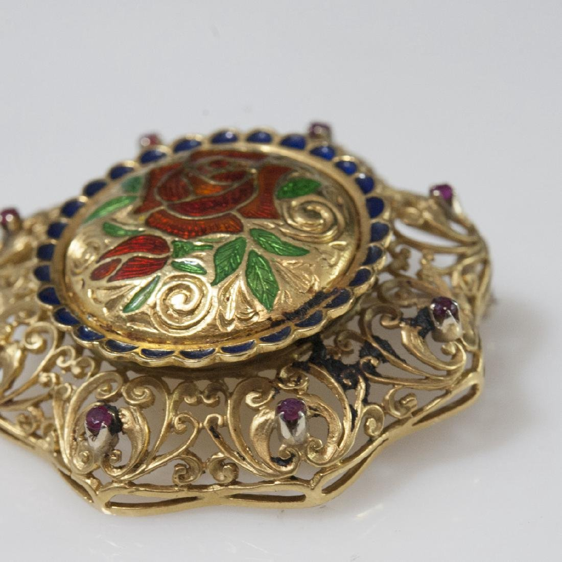 Italian 18kt Enameled Gold & Ruby Brooch - 2
