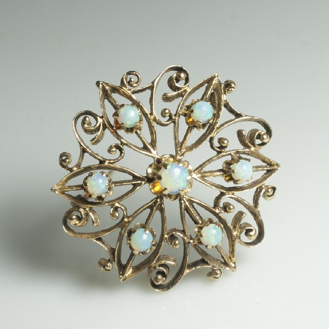 14kt Gold & Opal Pin