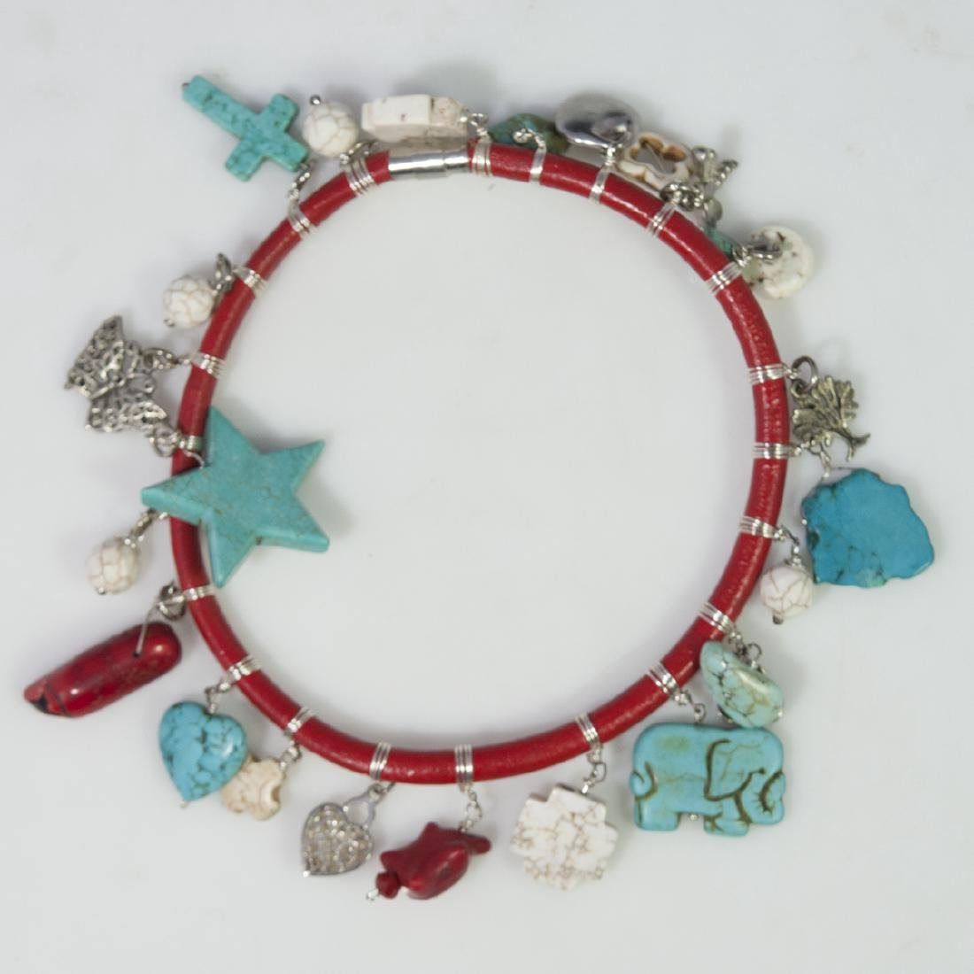 Leather Turquoise Choker Necklace