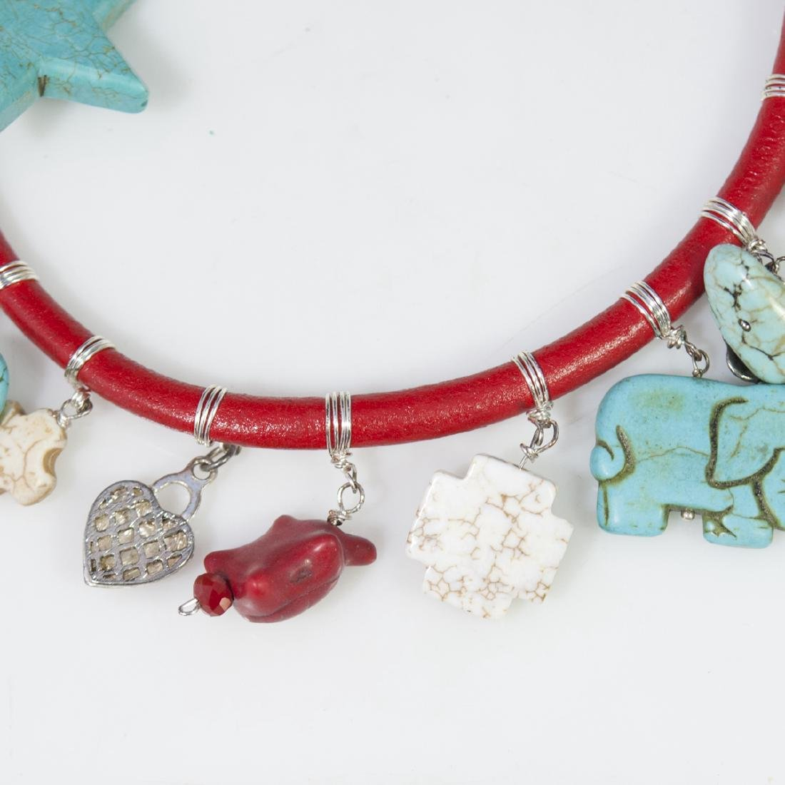 Leather Turquoise Choker Necklace - 2