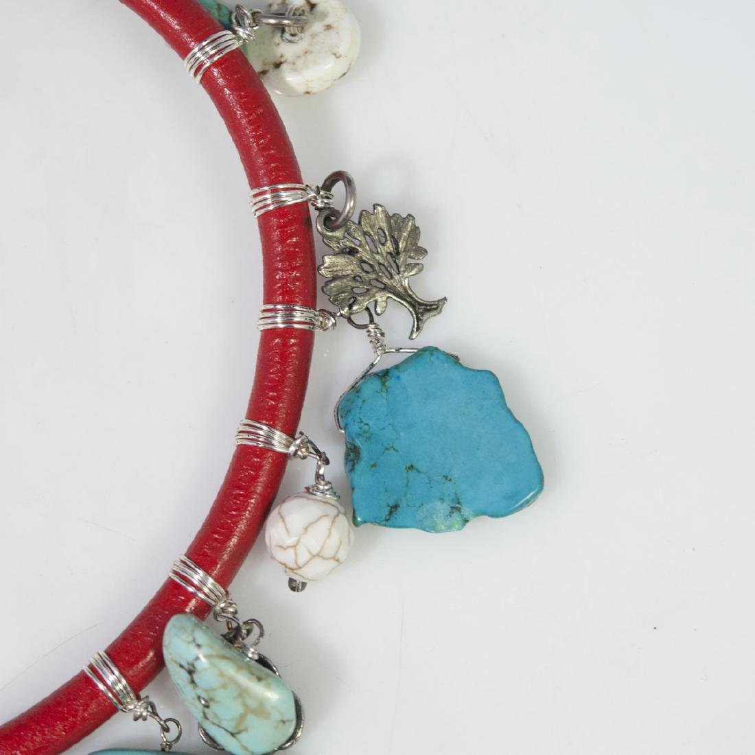Leather Turquoise Choker Necklace - 3