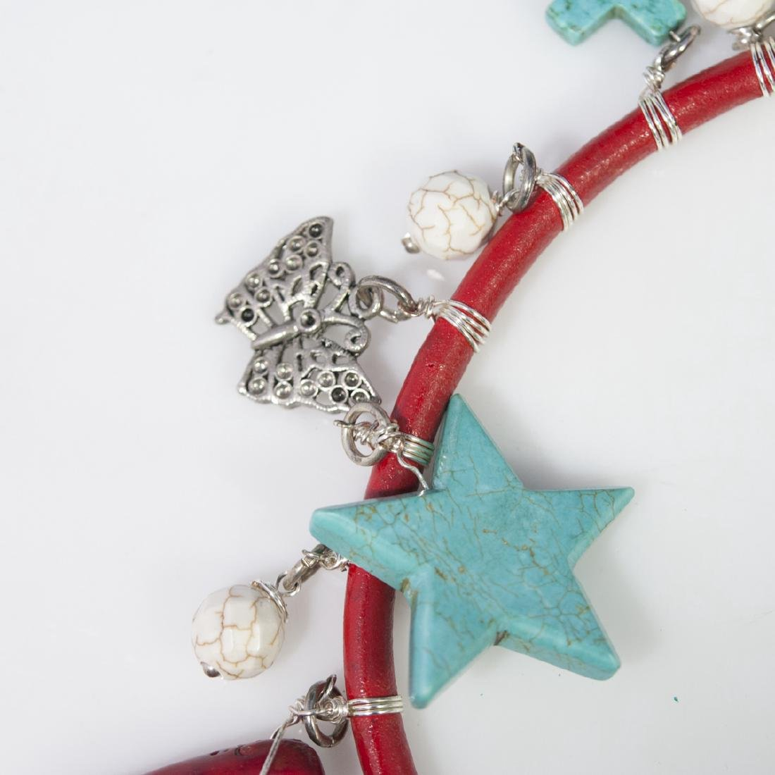 Leather Turquoise Choker Necklace - 4
