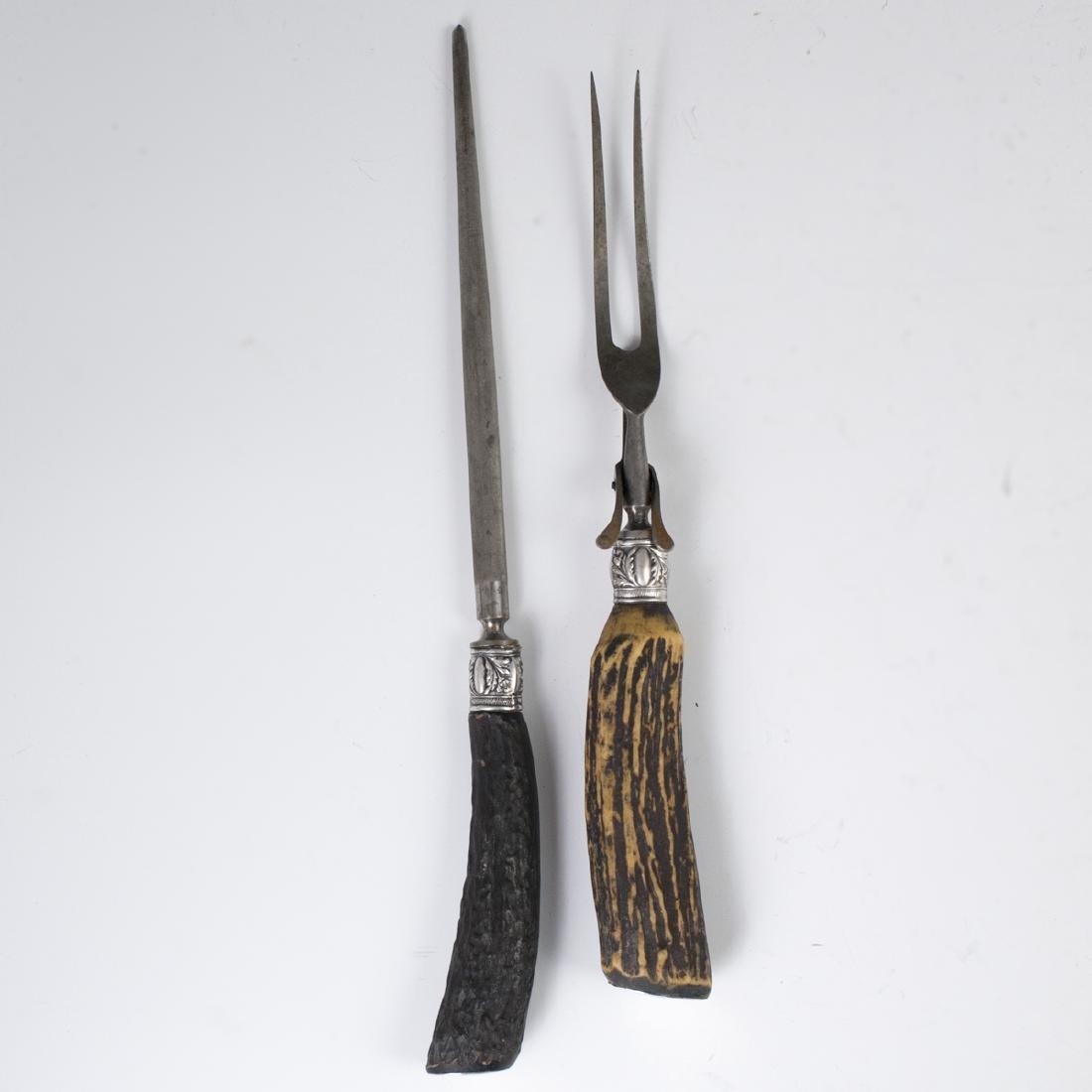 Antique Sterling & Antler Meat Carving Set