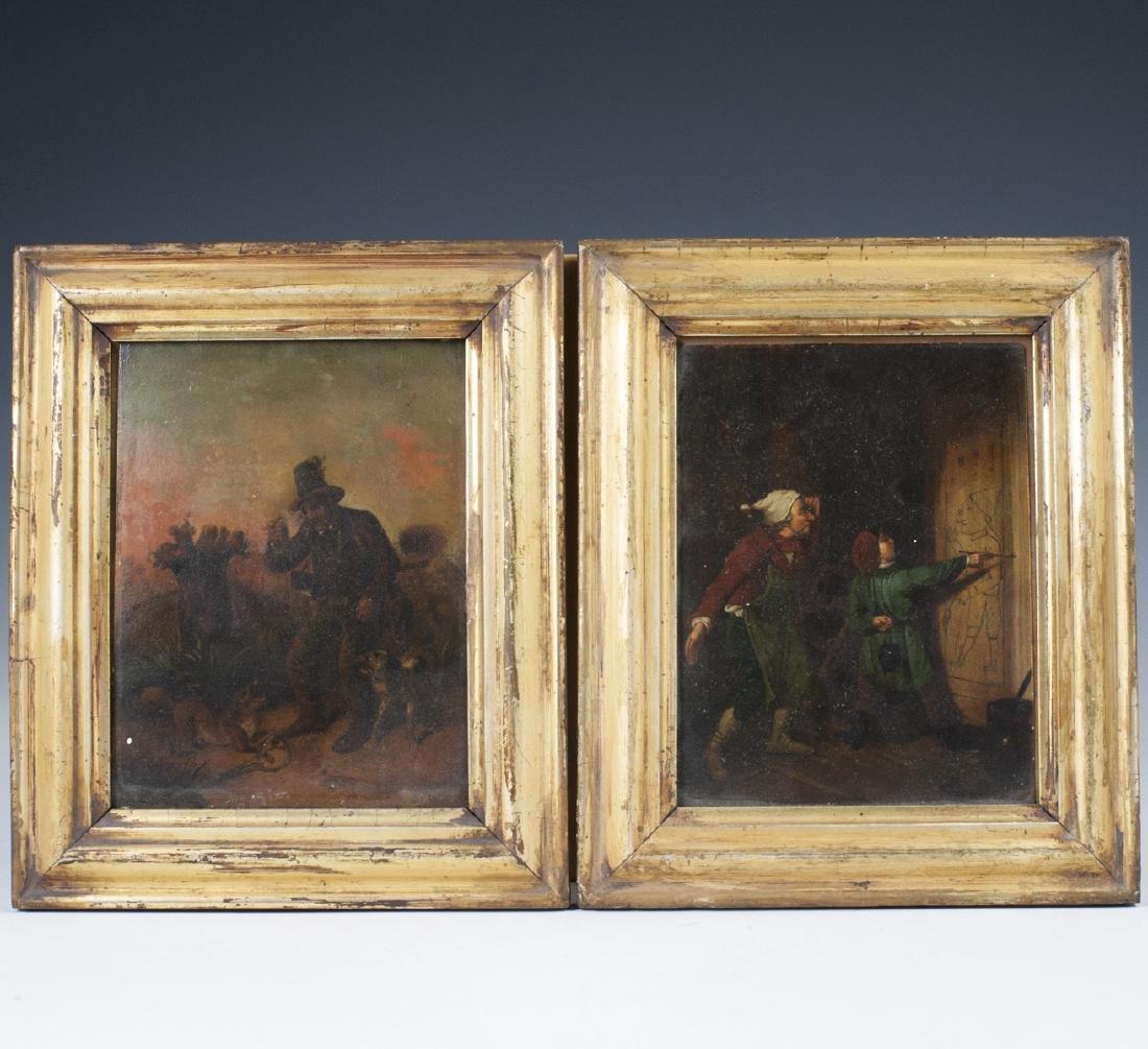 Antique Dutch Oil on Copper Paintings