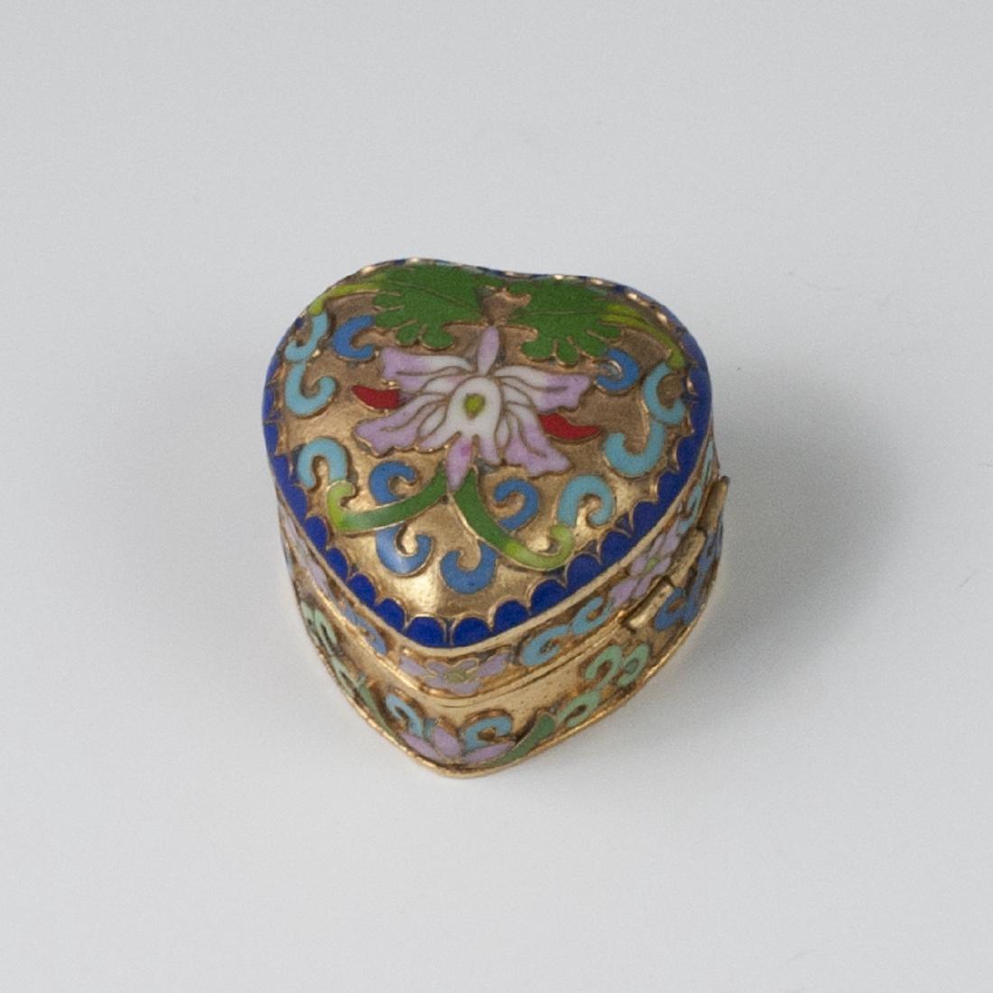 Chinese Cloisonne Enameled Trinket Box - 2