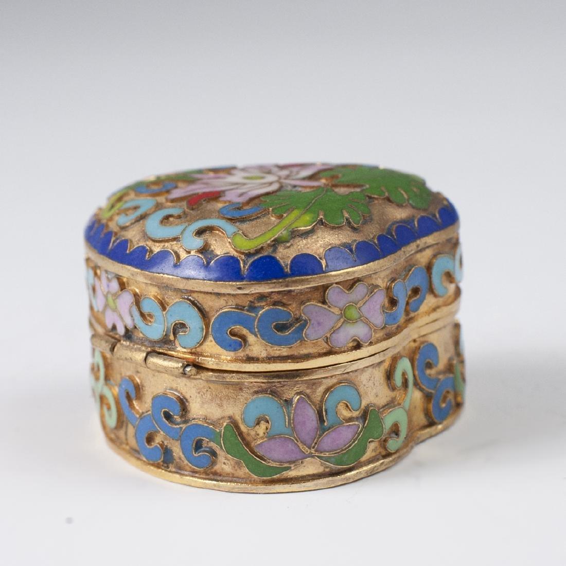 Chinese Cloisonne Enameled Trinket Box - 3