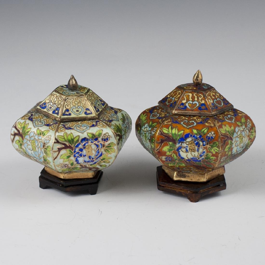 Chinese Cloisonne Enameled Jars