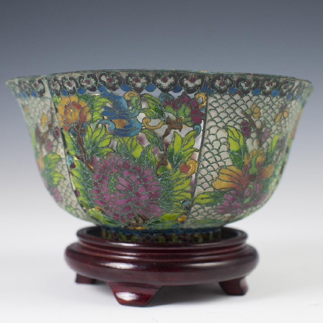 Chinese Plique A Jour Reticulated Bowl