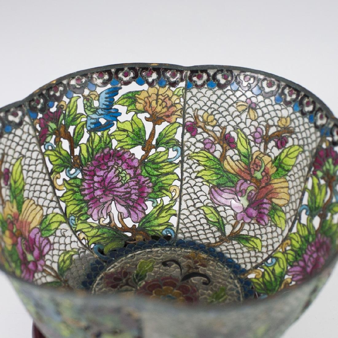 Chinese Plique A Jour Reticulated Bowl - 2