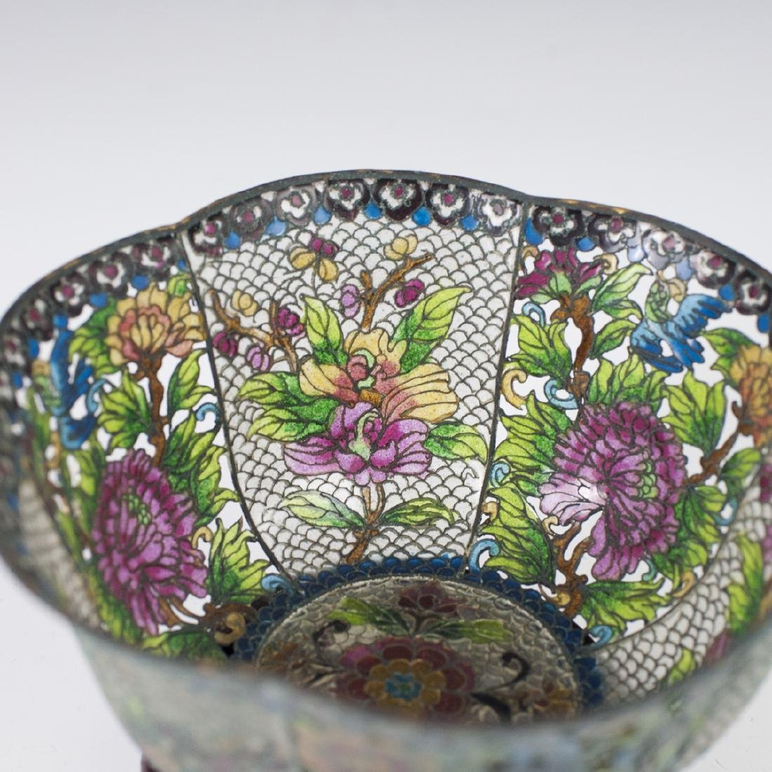 Chinese Plique A Jour Reticulated Bowl - 3