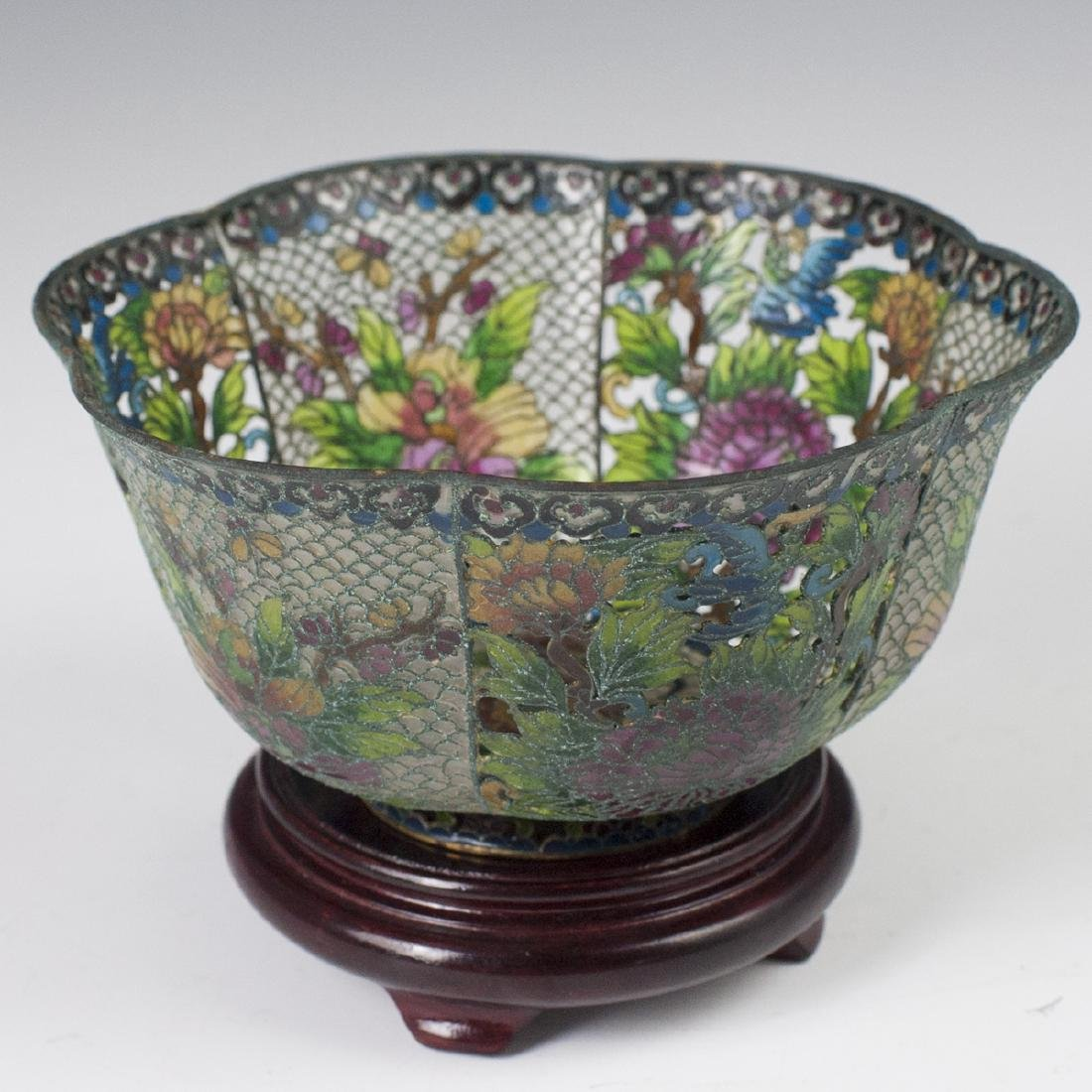 Chinese Plique A Jour Reticulated Bowl - 4