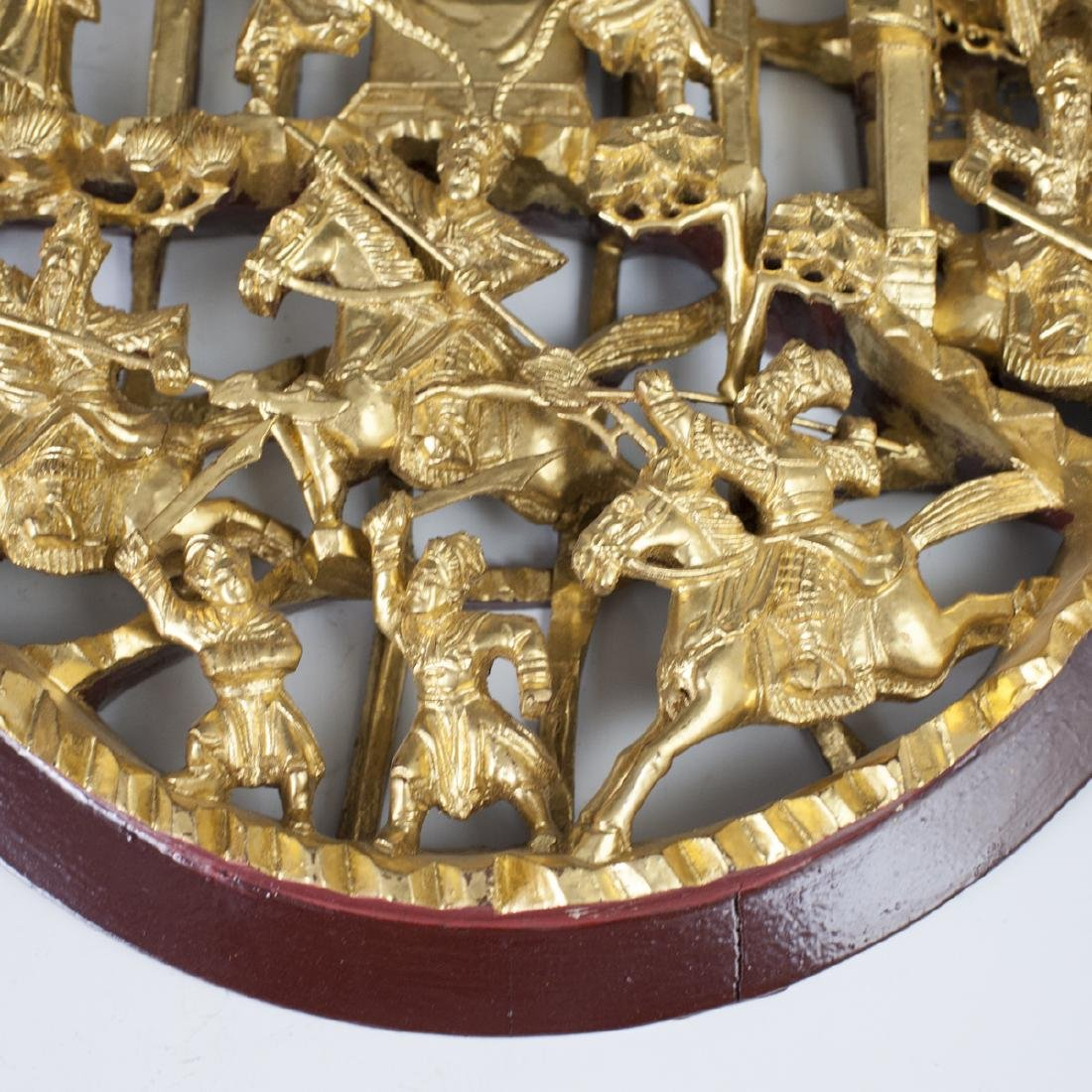 Chinese Carved Gilded Wood Plaques - 3