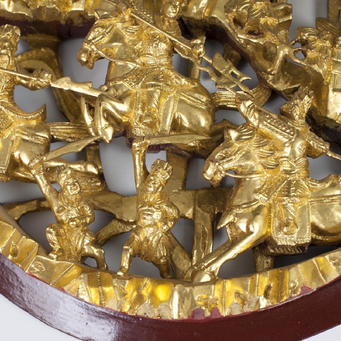 Chinese Carved Gilded Wood Plaques - 6