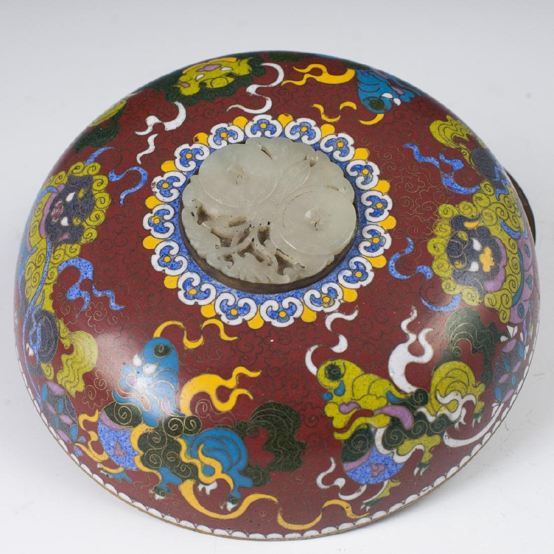 Chinese Cloisonne Enameled Jade Box - 2