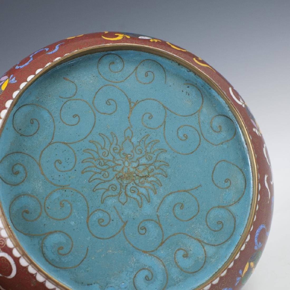 Chinese Cloisonne Enameled Jade Box - 5