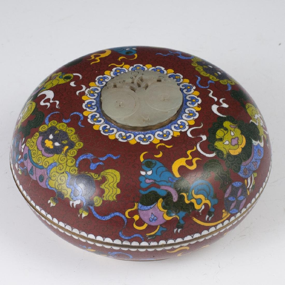 Chinese Cloisonne Enameled Jade Box - 7