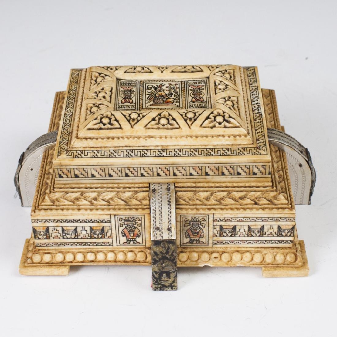 Mayan Style Carved Bone Box