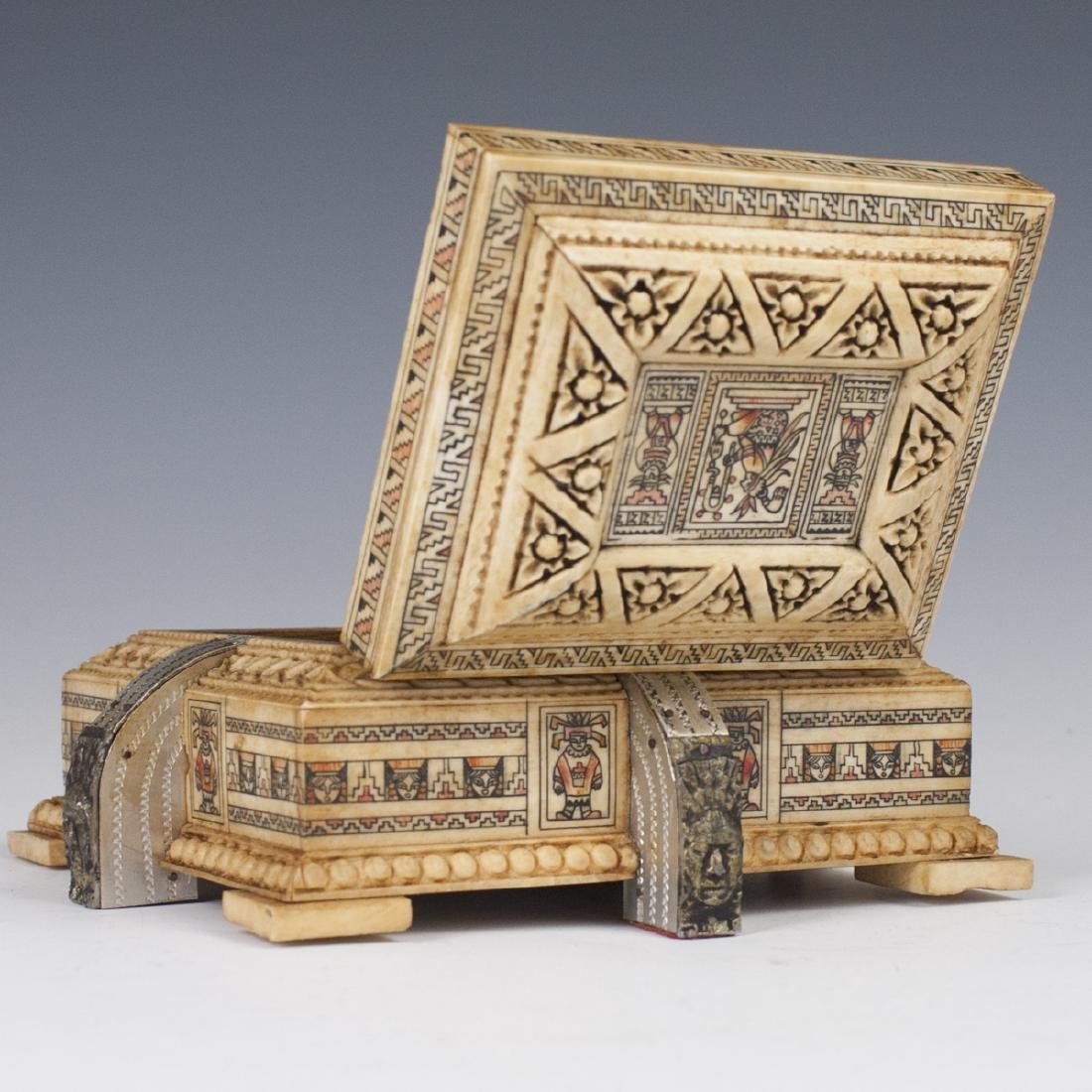 Mayan Style Carved Bone Box - 2