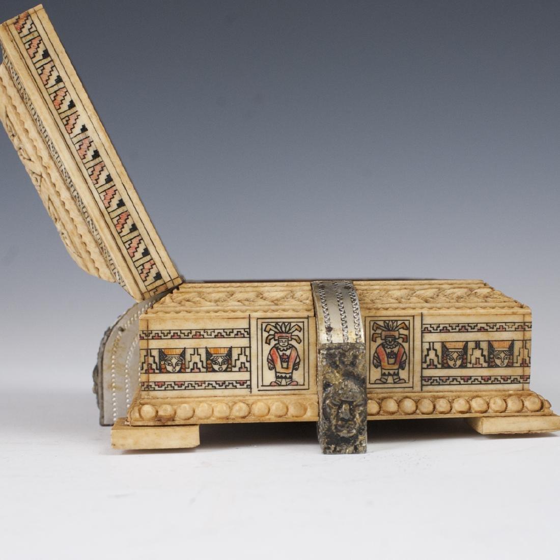 Mayan Style Carved Bone Box - 3