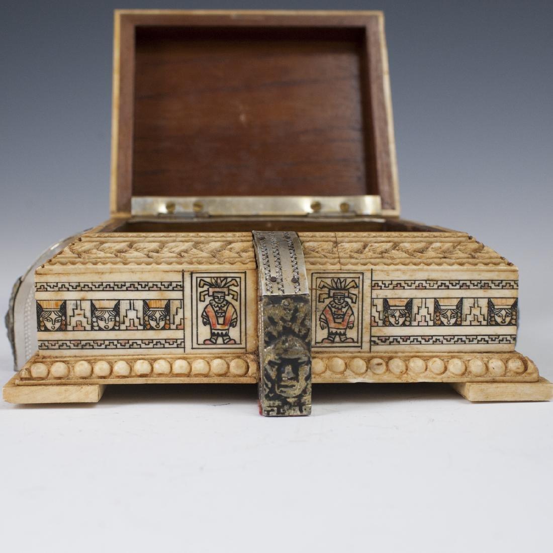 Mayan Style Carved Bone Box - 4