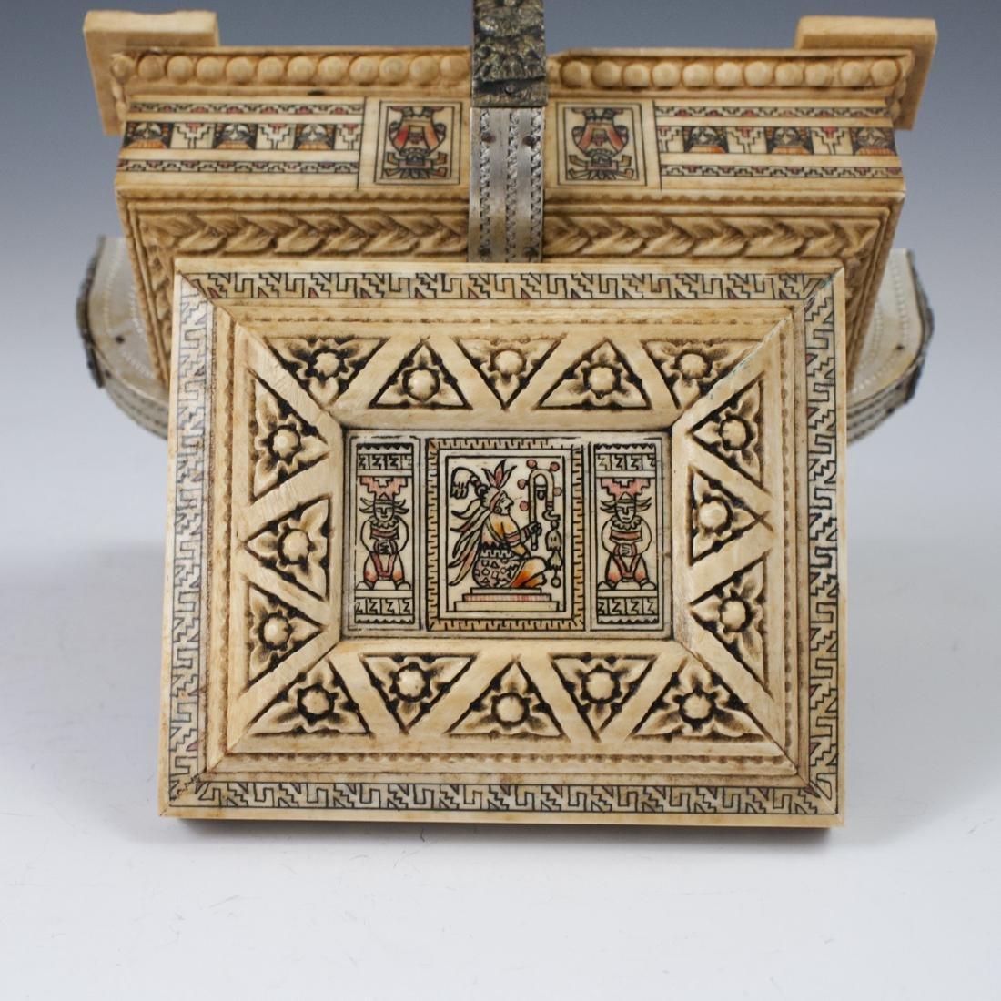 Mayan Style Carved Bone Box - 5