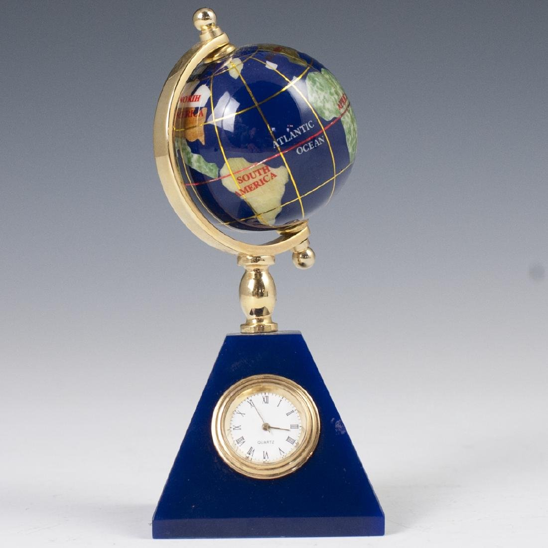 Vintage Semi-Precious Stone Globe Clock