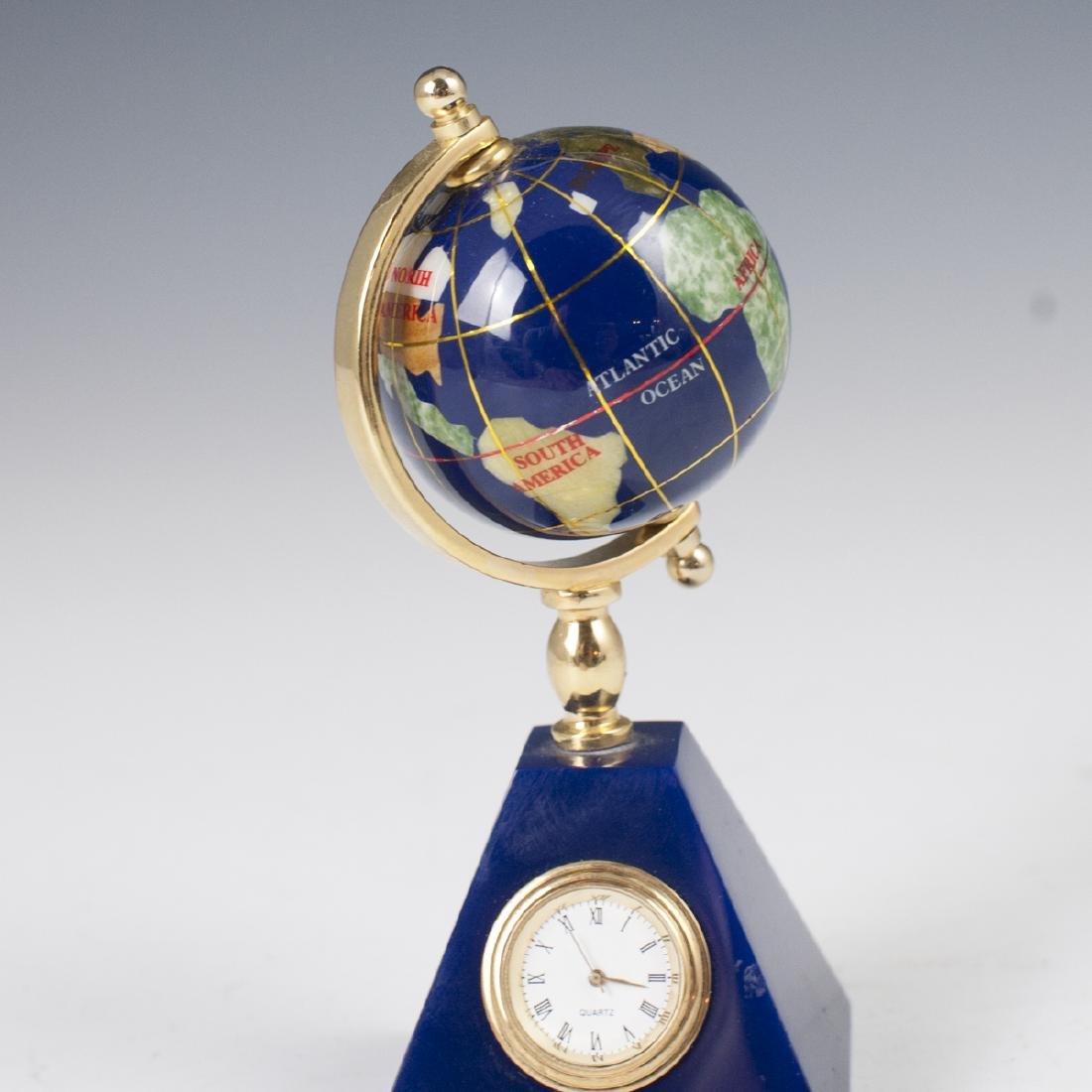 Vintage Semi-Precious Stone Globe Clock - 2