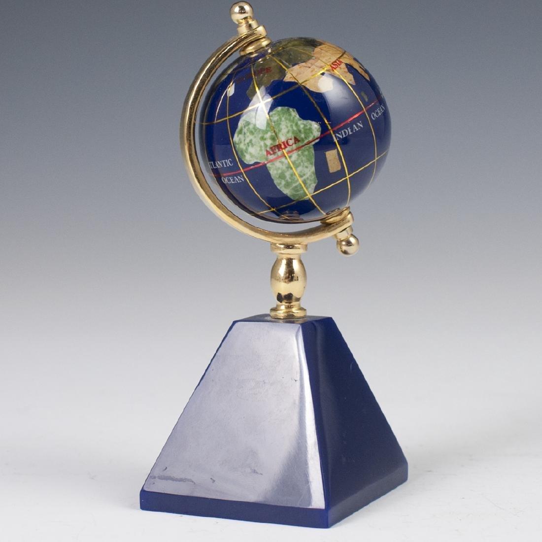 Vintage Semi-Precious Stone Globe Clock - 3
