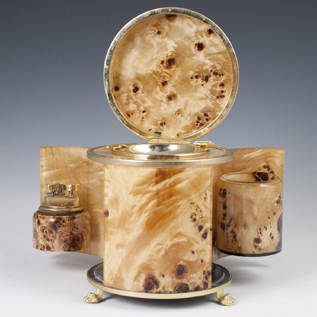 Vintage Italian Burl Wood Gold Plated Brass Smoker Set