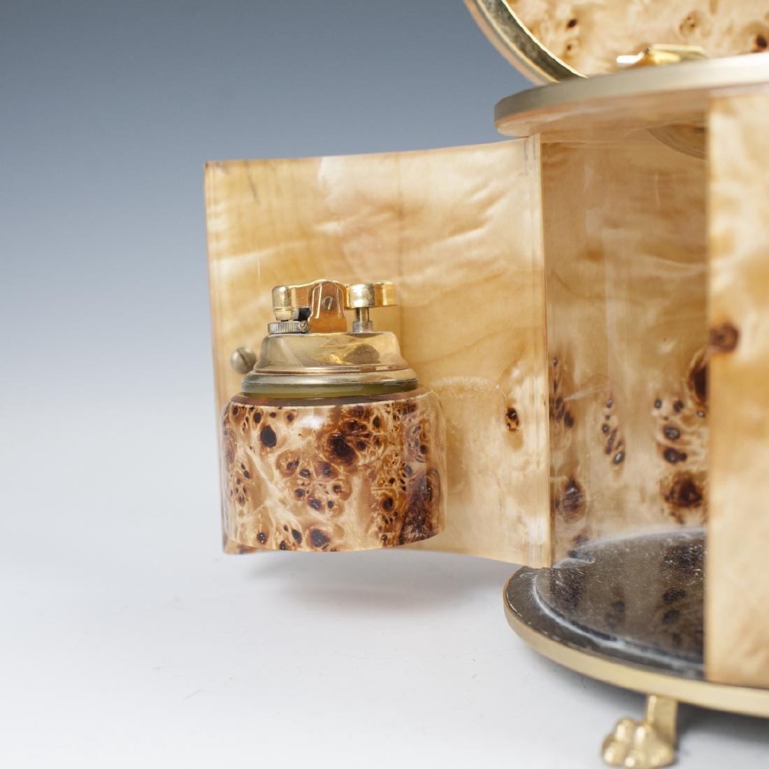 Vintage Italian Burl Wood Gold Plated Brass Smoker Set - 2