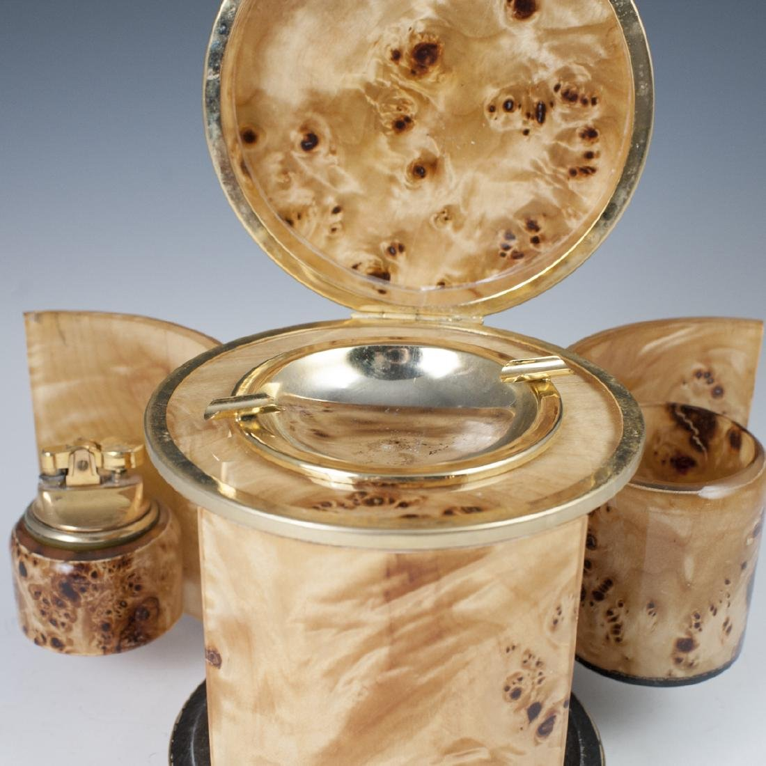 Vintage Italian Burl Wood Gold Plated Brass Smoker Set - 3