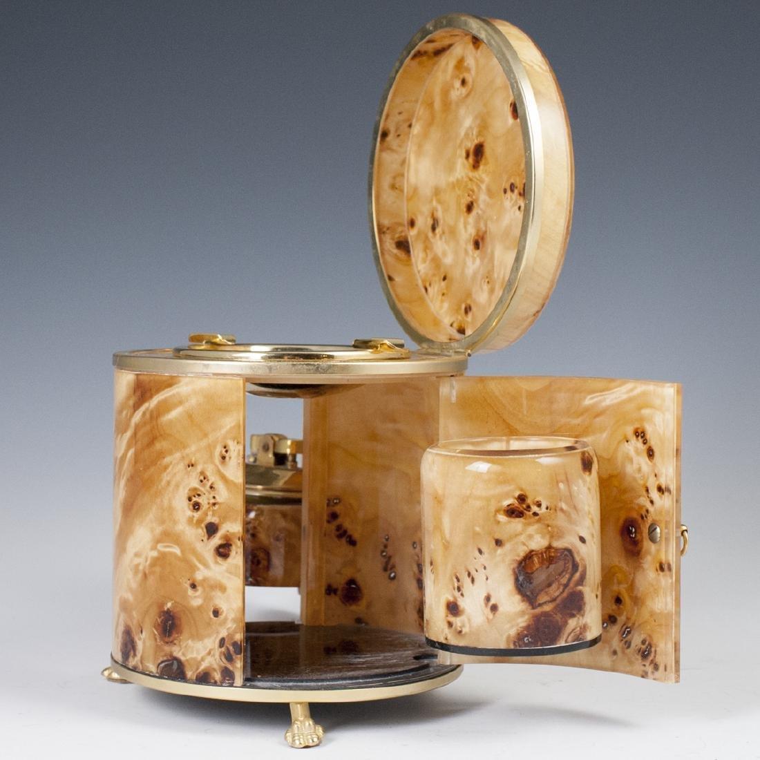 Vintage Italian Burl Wood Gold Plated Brass Smoker Set - 4