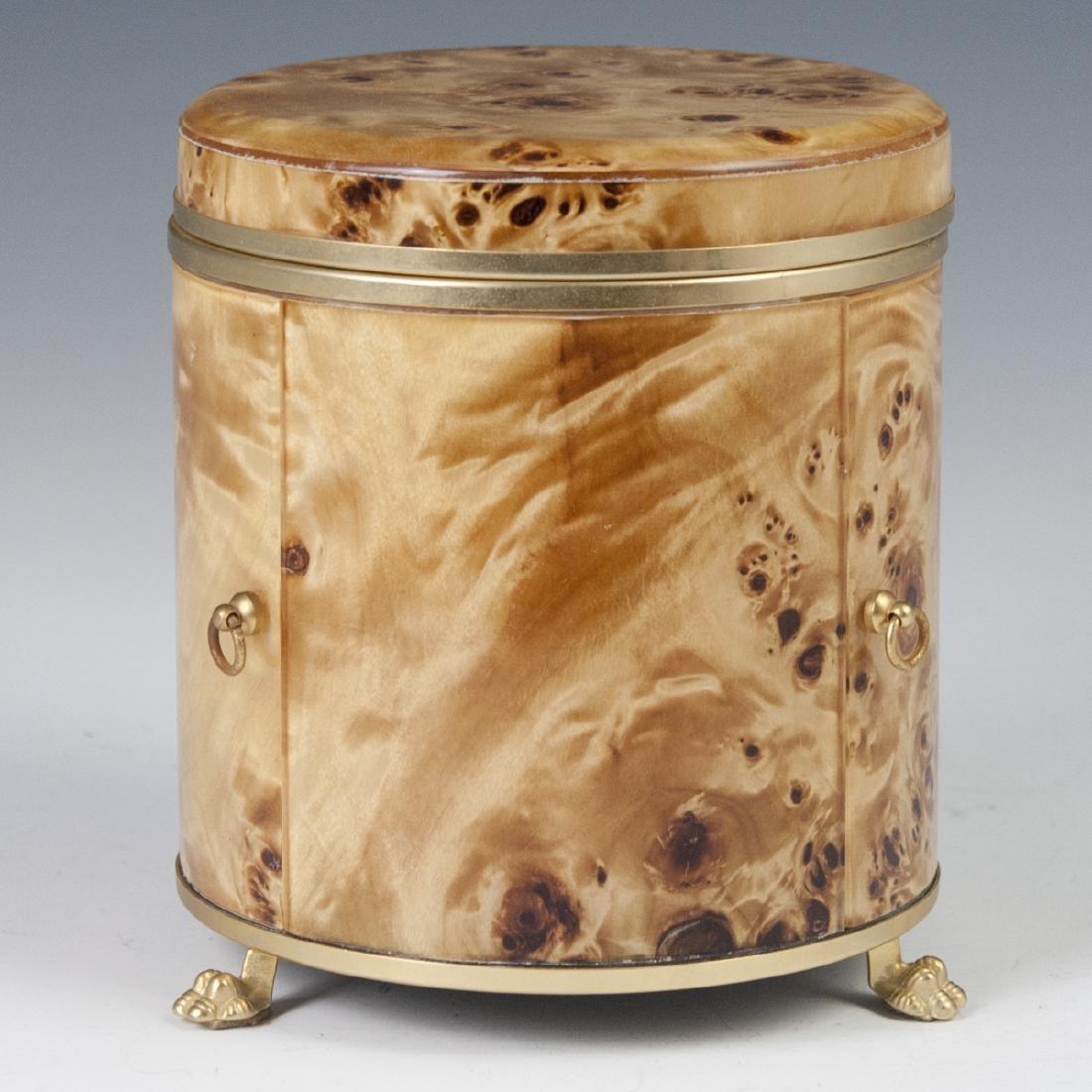Vintage Italian Burl Wood Gold Plated Brass Smoker Set - 7
