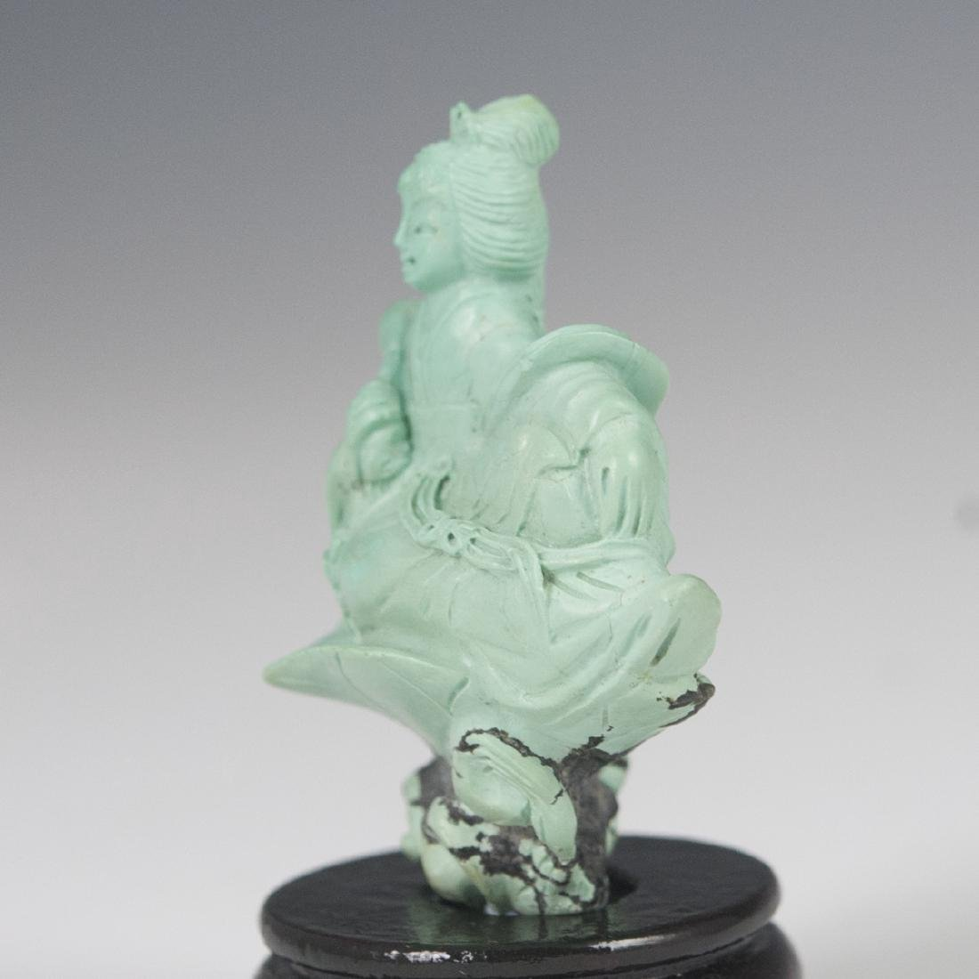 Carved Chinese Turquoise Figurine - 4