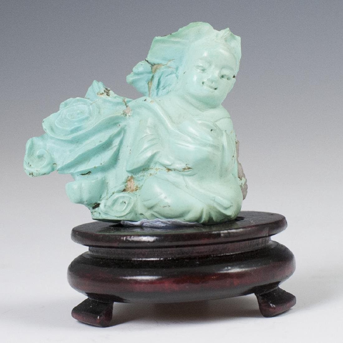 Carved Chinese Turquoise Figurine