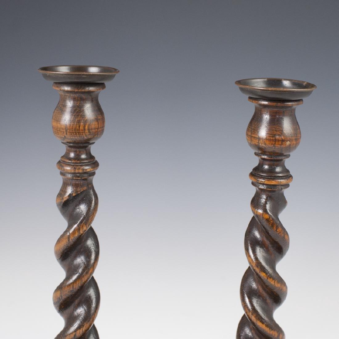 Vintage Wooden Candlesticks - 2