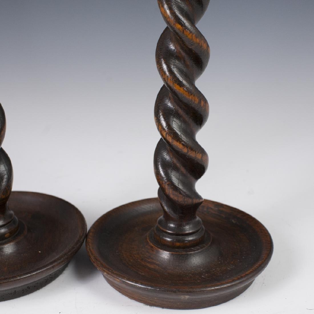 Vintage Wooden Candlesticks - 3
