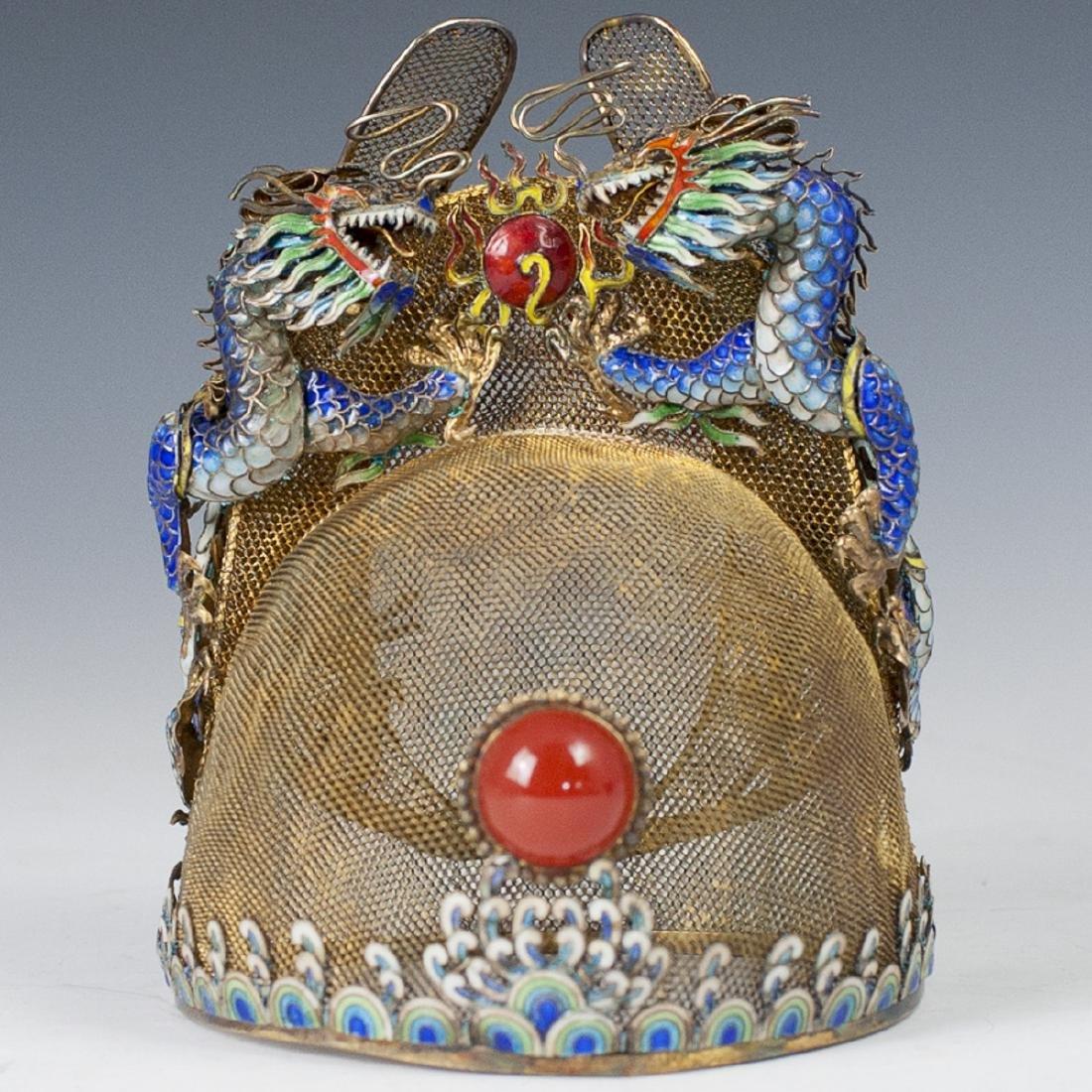 Wanli Replica Vermeil Silver Cloisonne Enamel Crown