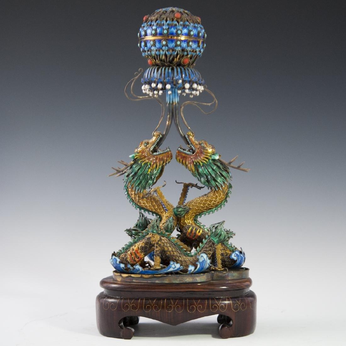 Chinese Vermeil Silver Enamel Cloisonne Caddy