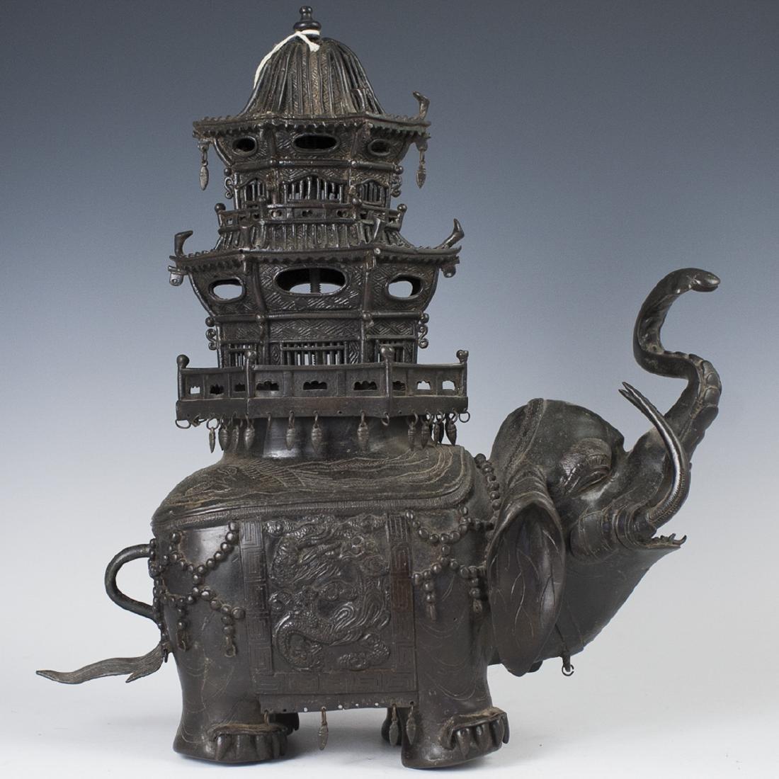 Antique Japanese Bronze Elephant Censer
