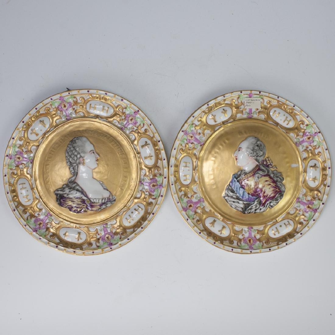 Antique Capodimonte Portrait Plates