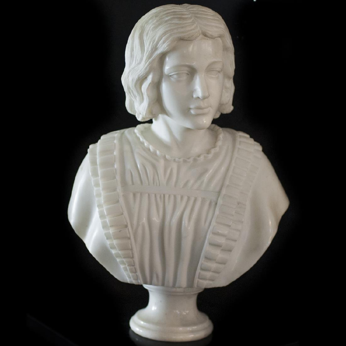 Carved Italian Carrera Marble Bust