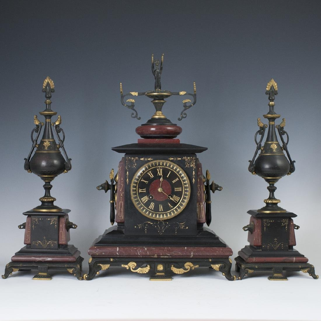 Antique Japy Freres Egyptian Revival Clock Garniture