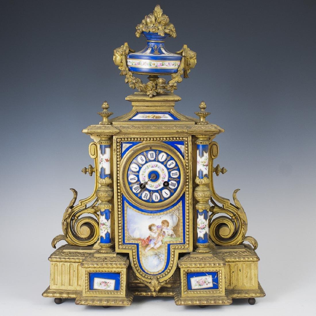 Antique Japy Freres Dore Bronze Porcelain Clock