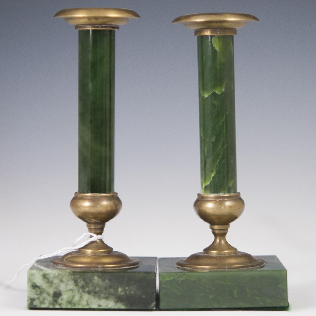 Mid-Century Nephrite & Bronze Candlesticks